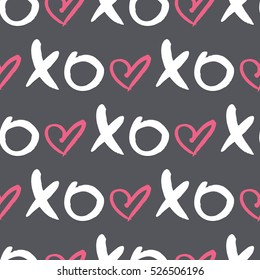 Vector seamless pattern with  word XOXO and heart. Colorful print for wedding invitation,poster,card,fabric,etc.