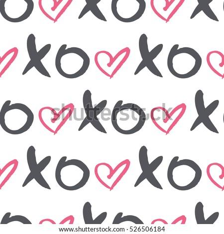 vector seamless pattern word xoxo heart stock vector royalty free