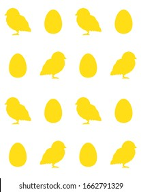 Vector seamless pattern of yellow chick silhouette and egg isolated on white background