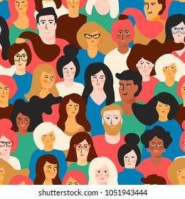 Vector seamless pattern with young men and women with different skin color.