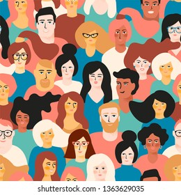 Vector seamless pattern with young men and women with different skin color. Design element.