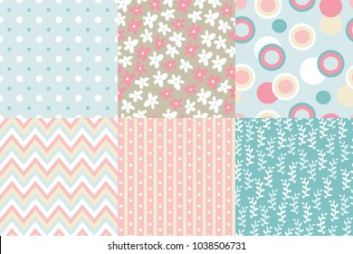 Vector seamless pattern. Zigzag, polka dot, flowers, leaves branches, striped rounds Pastel colors
