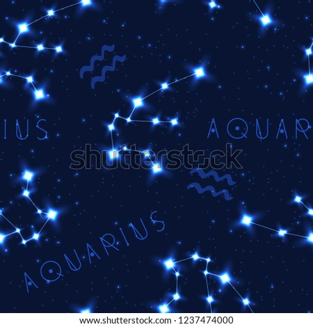 f0439c984 Vector seamless pattern with zodiac sign. Aquarius constellation in the  starry sky. Realistic shining stars on a dark blue background. - Vector