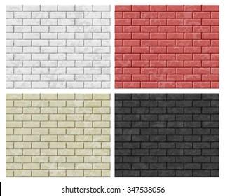 Vector Seamless Patterns of Brick Walls. White, Orange,Black, Red Wall. EPS10.