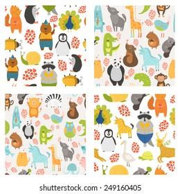 Vector seamless patterns with cute animals. Collection zoo backgrounds with cat, dog, owl, rabbit, bear, panda, monkey, alligator, bird,unicorn, lion, koala an more