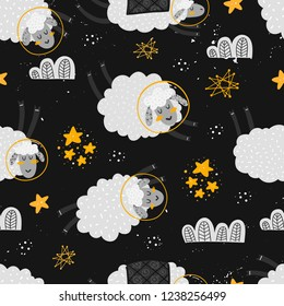 Vector seamless patterns with cute cartoon characters, sheeps in the Space. Sheep, star, cloud, constellation. Good night, sweet dreams illustration. For children design