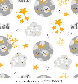 Vector seamless patterns with cute cartoon characters, girls planets in the Space. Planet, star, cloud, constellation. Good night, sweet dreams illustration. For children design