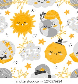 Vector seamless patterns with cute cartoon characters, planet, sun, moon, star, cloud, constellation. Good night, sweet dreams illustration. For children design