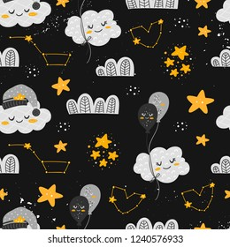 Vector seamless patterns with cute cartoon characters, cloud, star, balloon, constellation in the Space. Good night, sweet dreams illustration. For children design