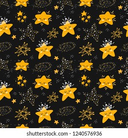 Vector seamless patterns with cute cartoon characters, stars in the Space. Star, crown, constellation. Good night, sweet dreams illustration. For children design