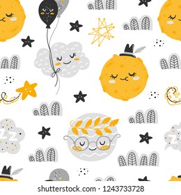 Vector seamless patterns with cute cartoon characters, planets in the Space. Planet, star, moon, cloud, constellation. Good night, sweet dreams illustration. For children design