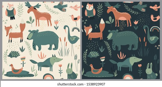 Vector seamless patterns with hand drawn forest animals, flowers and plants. Two color variations. Endless background with bear, fox, wolf, rabbit for textile, print, fabric, invitations