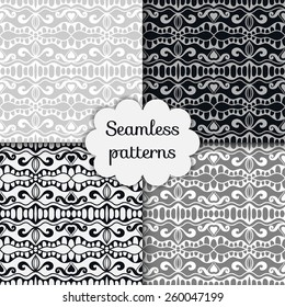 Vector seamless patterns set, hand drawn artwork. Geometric stylish background.
