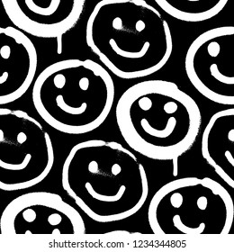 Vector seamless patterns. Trendy endless unique wallpaper with design elements. Graffiti happy emoji sprayed in black and white
