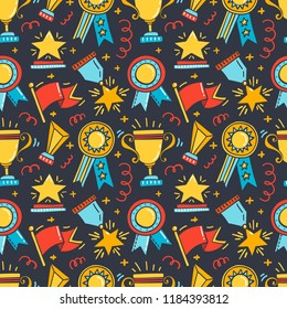 Vector seamless patterns with trophy, medals, cups and awards icons. Handdrawn doodle style.