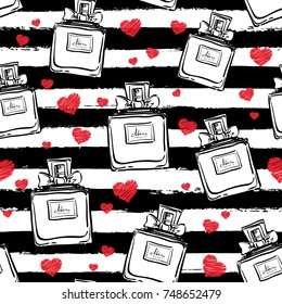 Vector seamless perfume bottles pattern, hand drawn, outlines black and white colors, on the stripes with red hearths. Hand drawn perfumery illustration. Fashion beauty art sketch.