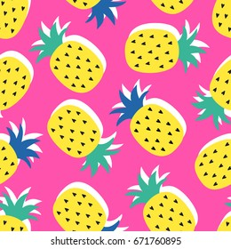 Vector seamless pineapple fruit crazy colors pattern. Childish style, abstract pop art on pink