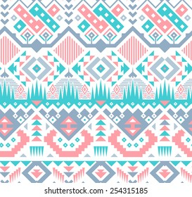Vector Seamless Pink / Blue Tribal Pattern. Geometrical Ethnic Print Ornament with Triangles, Stripes and Rhombus
