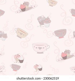 vector seamless pink pastel pattern of tea cups and cupcakes for your design