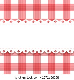 vector seamless plaid, checkered pattern with lacy doily. gingham background and frame with scallop border endless template. red white fabric texture. Vintage picnic tablecloth.italian kitchen print