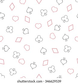 Vector Seamless Playing Cards Suits Pattern Background