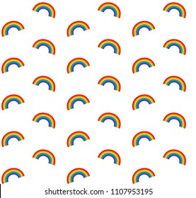 vector seamless pride gay lesbian rainbow pattern on white background