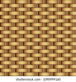 Vector seamless realistic burnt Golden light background, yellow rattan weave bamboo or straw, natural ECO-texture, surface.