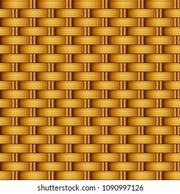 Vector seamless realistic light background, red orange rattan weave bamboo or straw, natural ECO-texture, surface.
