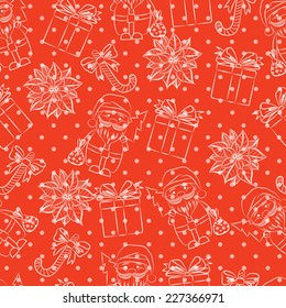 Vector seamless red background, Christmas and New Year's decorative elements contour.  Suitable for various designs, invitation, thank you card, wrapping paper pattern and scrapbooking