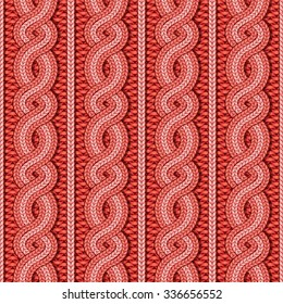Vector seamless red Christmas sweater cable knitted pattern in ethnic style