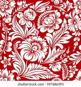vector seamless red and white pattern with abstract stylized flowers in folk style, hohloma, petrikovka.