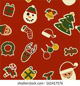 vector seamless retro christmas pattern - Separate layers for easy editing