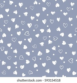 Vector seamless retro pattern, cute seamless background with hearts