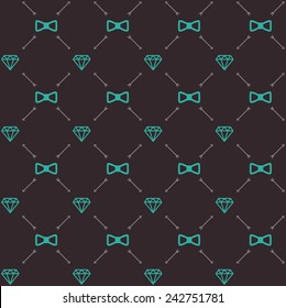 Vector seamless retro pattern, with hipster gentleman bow tie, diamond, arrows. For wallpaper, pattern fills, web page background, blog. Stylish texture.Vintage colors.