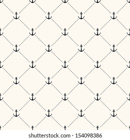 Vector seamless retro pattern, polka dot with anchors. Can be used for wallpaper, pattern fills, web page background,surface textures