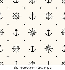 Vector seamless retro pattern, polka dot with anchors and wheels. Can be used for wallpaper, pattern fills, web page background