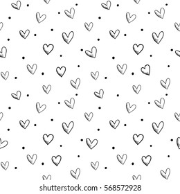 Vector seamless retro pattern, polka dot with hearts. Can be used for wallpaper, pattern fills, web page background,surface textures