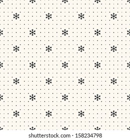Vector seamless retro pattern, with snowflakes. Can be used for wallpaper, pattern fills, web page background,surface textures