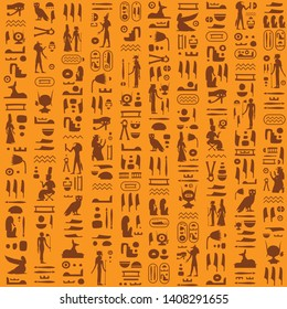 Vector seamless retro pattern (tiling) with ancient egyptian hieroglyphs and symbols. Endless texture can be used for pattern fills, web page background, fabric design, scrapbooking paper