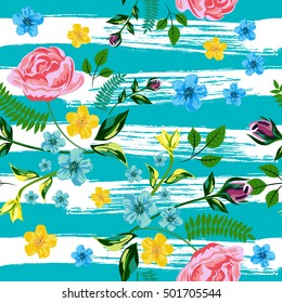 Vector Seamless Roses Floral Hand-drawn Pattern. Flower pattern with of red, yellow, blue flower on against the background of strips of drawn turquoise ink. Background for your design projects.
