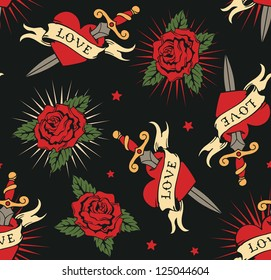 vector seamless with roses and hearts