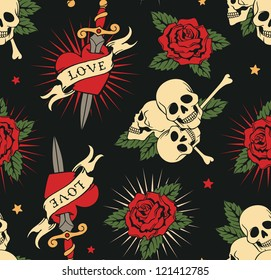 vector seamless with roses, hearts and skulls