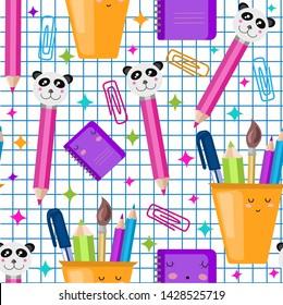 Vector seamless school pattern. Kawaii, children,baby illustration. back to school concept