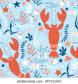 Vector seamless sea life pattern with happy lobsters