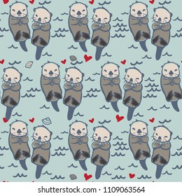 Vector Seamless Sea Otter Pattern