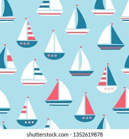 vector seamless sea pattern with cute cartoon sailing ship