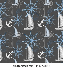 Vector seamless sea pattern with ships, ship's wheel, anchor. Cartoon print. Vector illustration. Scrapbook paper, wrapping paper.