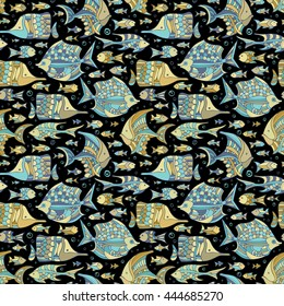 Vector seamless sea/ocean fish pattern. Various fish on black background. Boundless background.