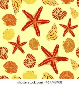 Vector seamless seashell pattern with hand drawn seashells and seastars illustrations