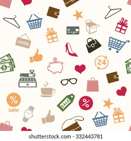 Vector Seamless Shopping Pattern Background